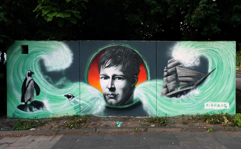 Graffiti von OLDHAUS am Alexander-von-Humbold-Gymnasium an der Weberstraße